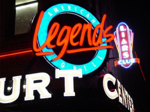 Legends and Liars Club signs at Court Center