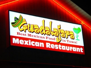 The sign on the front of Guadalajara